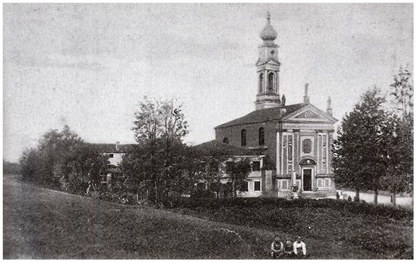 Chiesa di Cadoneghe vecchia con il campanile originario